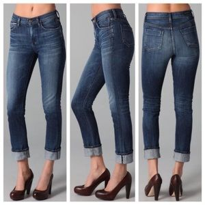 Citizens of Humanity Mandy High Waist Retro Slim Roll Up Jeans in Blue, size 27